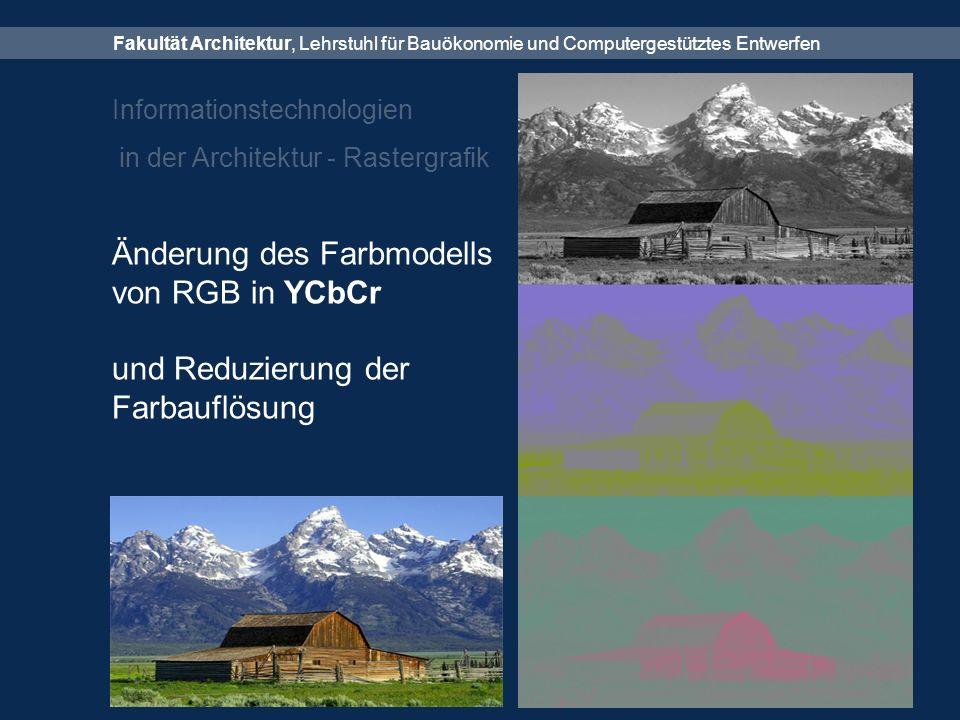 Fakultät Architektur, Lehrstuhl für Bauökonomie und Computergestütztes Entwerfen Informationstechnologien in der Architektur - Rastergrafik Änderung des Farbmodells von RGB in YCbCr und Reduzierung der Farbauflösung