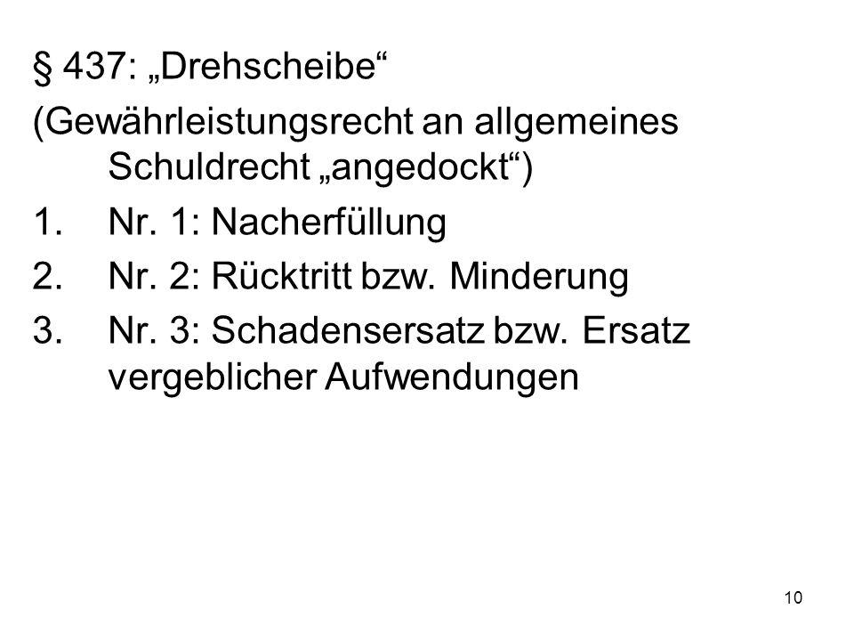 "10 § 437: ""Drehscheibe (Gewährleistungsrecht an allgemeines Schuldrecht ""angedockt ) 1.Nr."