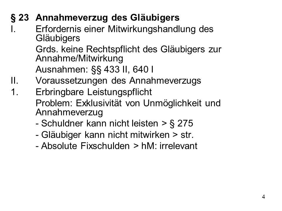 4 § 23Annahmeverzug des Gläubigers I.Erfordernis einer Mitwirkungshandlung des Gläubigers Grds.