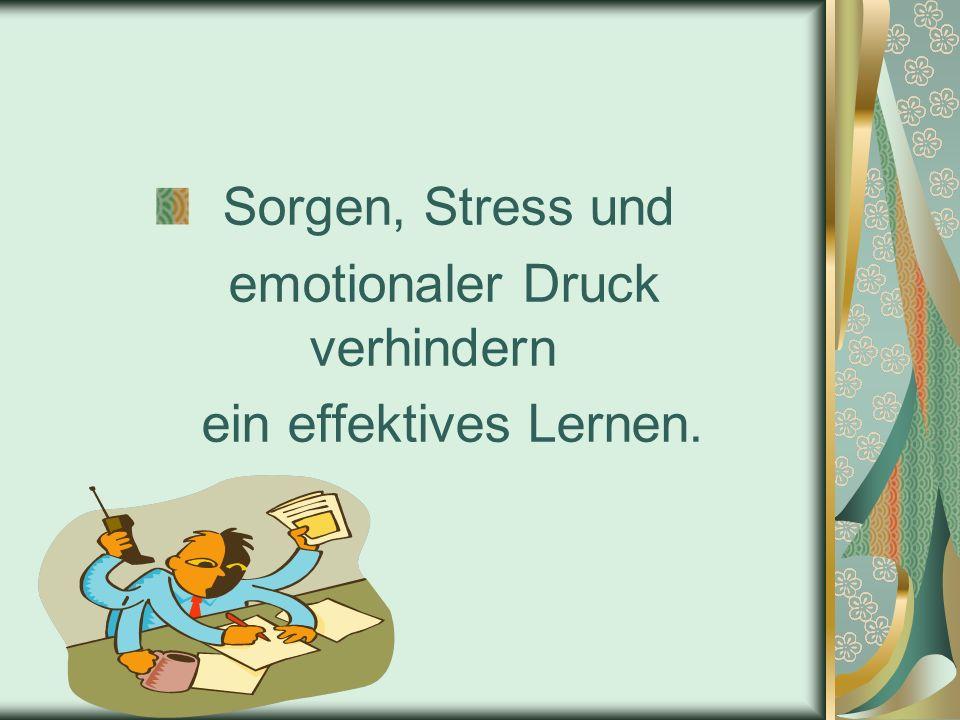 Sorgen, Stress und emotionaler Druck verhindern ein effektives Lernen.