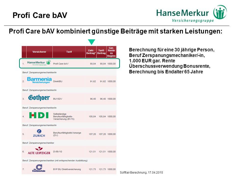 Profi Care bAV kombiniert günstige Beiträge mit starken Leistungen: Berechnung für eine 30 jährige Person, Beruf Zerspanungsmechaniker/-in, 1.000 EUR gar.