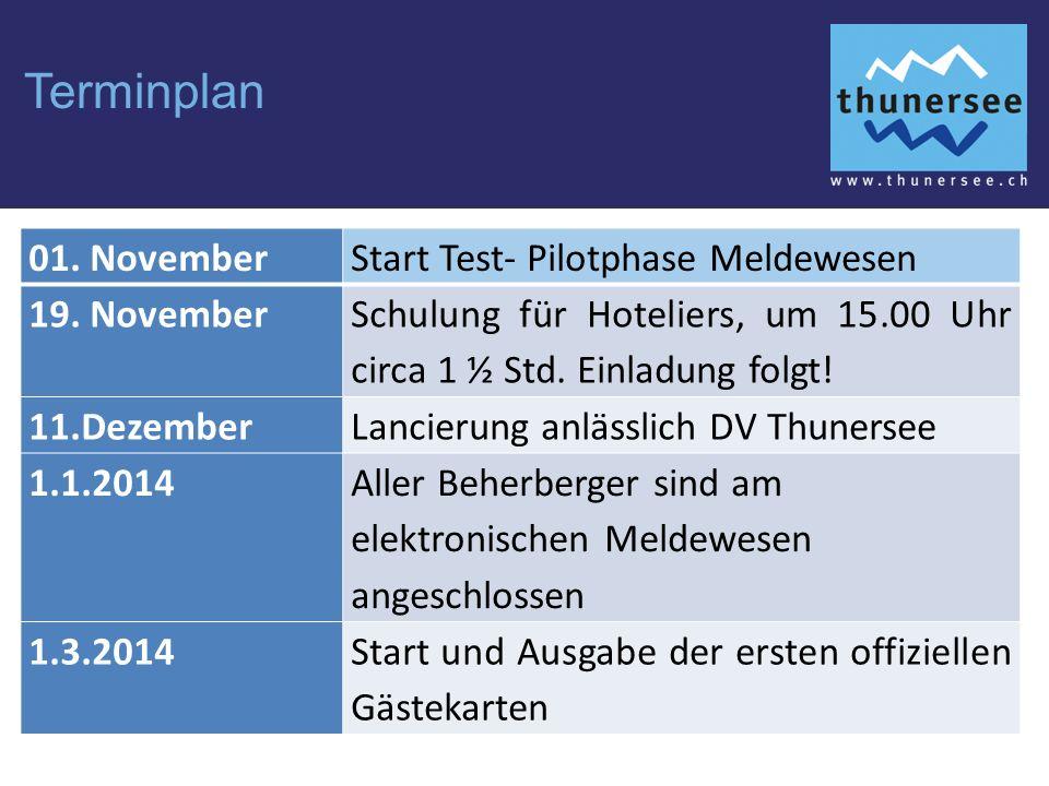 Terminplan 01.NovemberStart Test- Pilotphase Meldewesen 19.