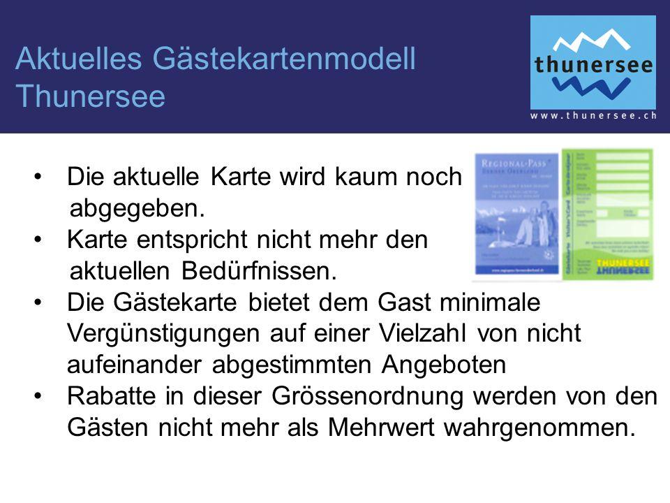 Aktuelles Gästekartenmodell Thunersee Die aktuelle Karte wird kaum noch abgegeben.