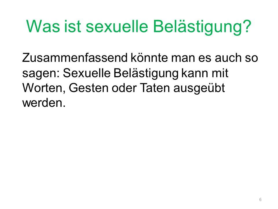 Wann ist es sexuelle Belästigung.