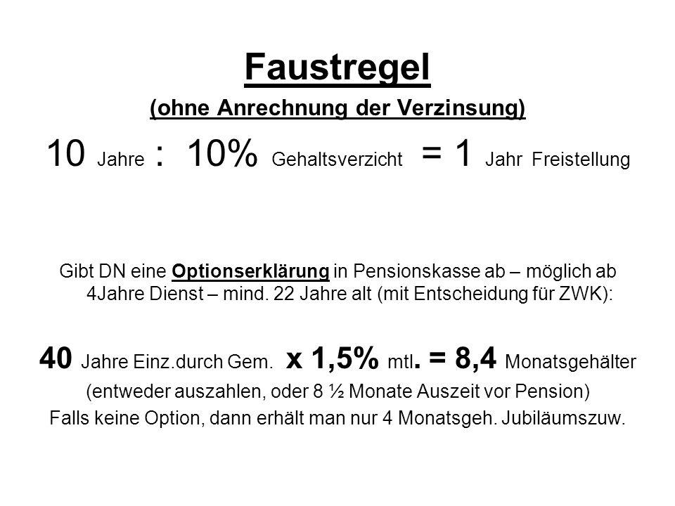 Faustregel (ohne Anrechnung der Verzinsung) 10 Jahre : 10% Gehaltsverzicht = 1 Jahr Freistellung Gibt DN eine Optionserklärung in Pensionskasse ab – möglich ab 4Jahre Dienst – mind.