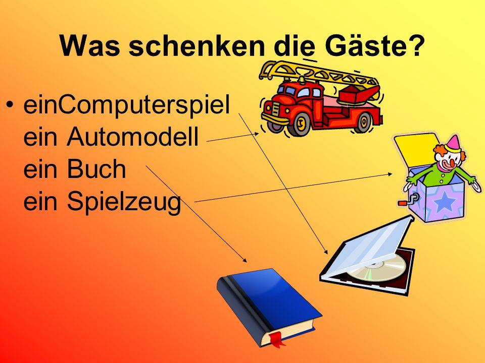 Was schenken die Gäste einComputerspiel ein Automodell ein Buch ein Spielzeug