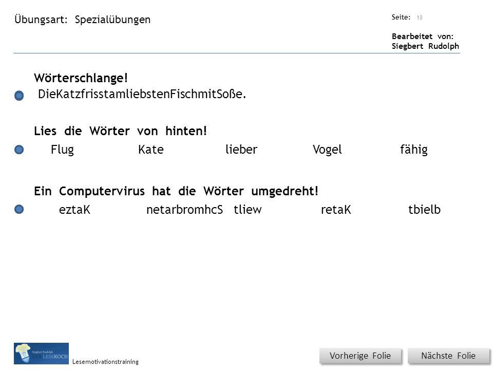 Übungsart: Titel: Quelle: Seite: Bearbeitet von: Siegbert Rudolph Lesemotivationstraining 10 Spezialübungen Titel: Quelle: Wörterschlange.