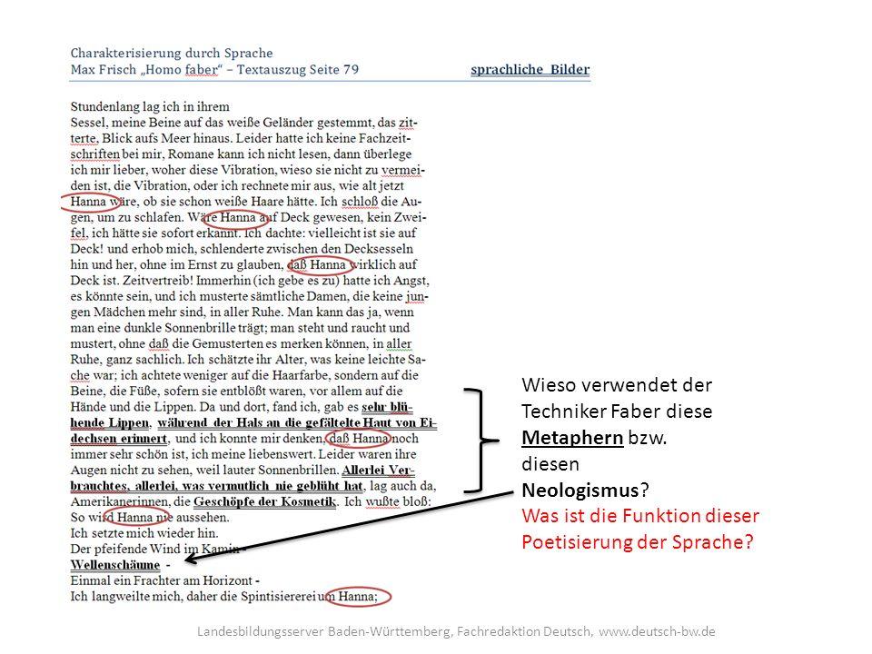 Wieso verwendet der Techniker Faber diese Metaphern bzw.