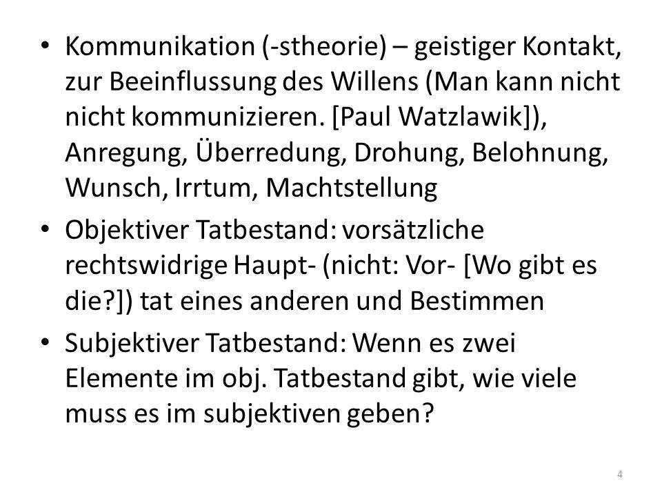 Kommunikation (-stheorie) – geistiger Kontakt, zur Beeinflussung des Willens (Man kann nicht nicht kommunizieren. [Paul Watzlawik]), Anregung, Überred