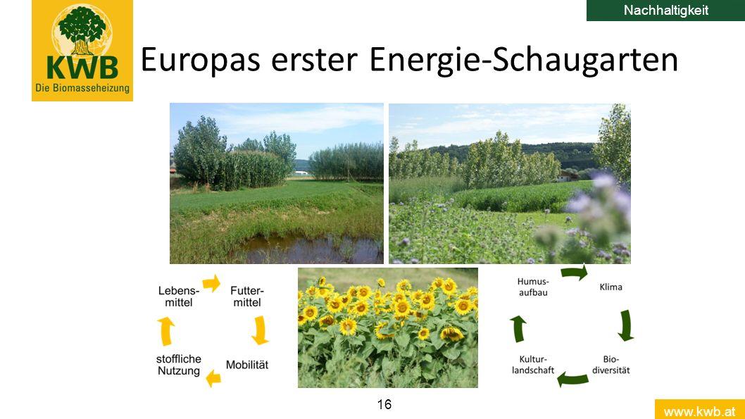 www.kwb.at 16 Europas erster Energie-Schaugarten Nachhaltigkeit