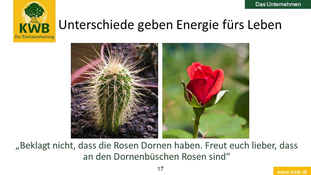 """www.kwb.at 17 Unterschiede geben Energie fürs Leben Das Unternehmen """"Beklagt nicht, dass die Rosen Dornen haben. Freut euch lieber, dass an den Dornen"""
