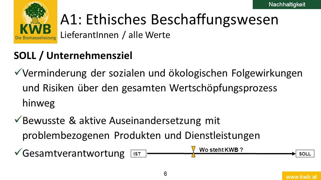 www.kwb.at 6 SOLL / Unternehmensziel Verminderung der sozialen und ökologischen Folgewirkungen und Risiken über den gesamten Wertschöpfungsprozess hin