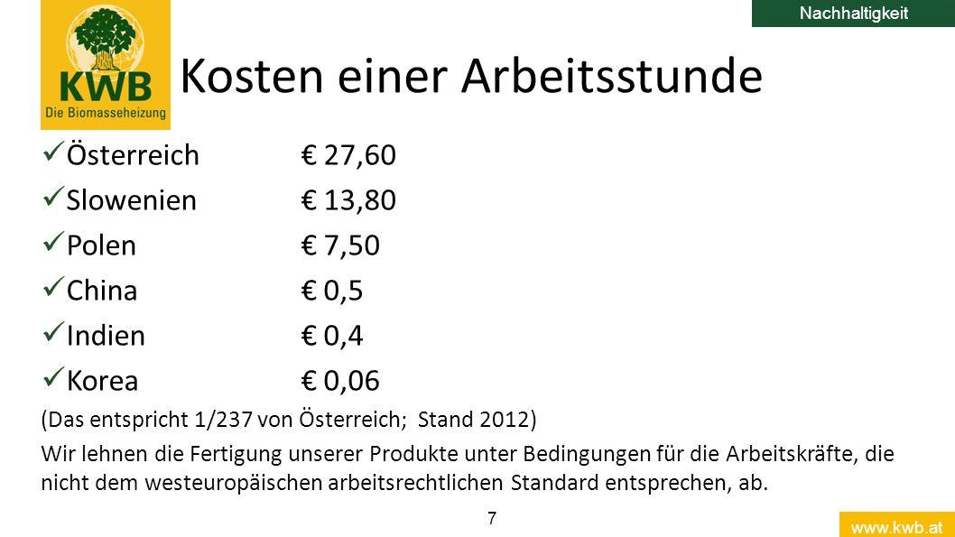 www.kwb.at 7 Österreich€ 27,60 Slowenien€ 13,80 Polen€ 7,50 China€ 0,5 Indien€ 0,4 Korea€ 0,06 (Das entspricht 1/237 von Österreich; Stand 2012) Wir lehnen die Fertigung unserer Produkte unter Bedingungen für die Arbeitskräfte, die nicht dem westeuropäischen arbeitsrechtlichen Standard entsprechen, ab.