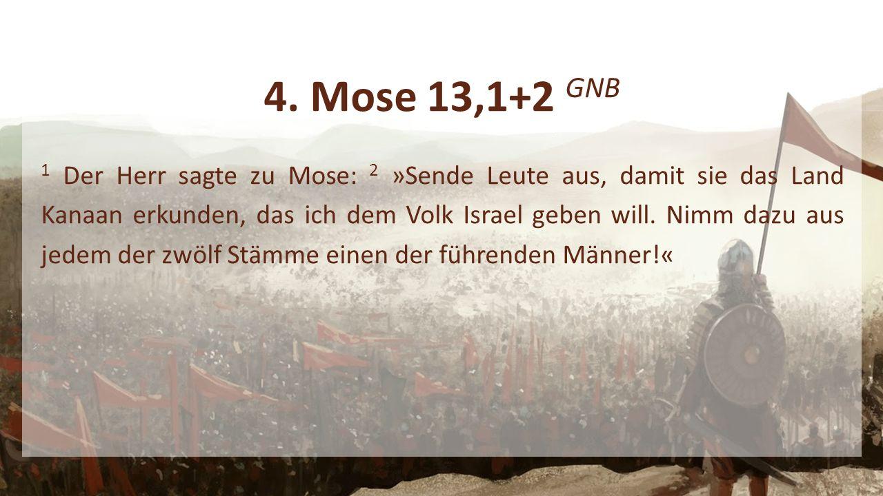 4. Mose 13,1+2 GNB 1 Der Herr sagte zu Mose: 2 »Sende Leute aus, damit sie das Land Kanaan erkunden, das ich dem Volk Israel geben will. Nimm dazu aus