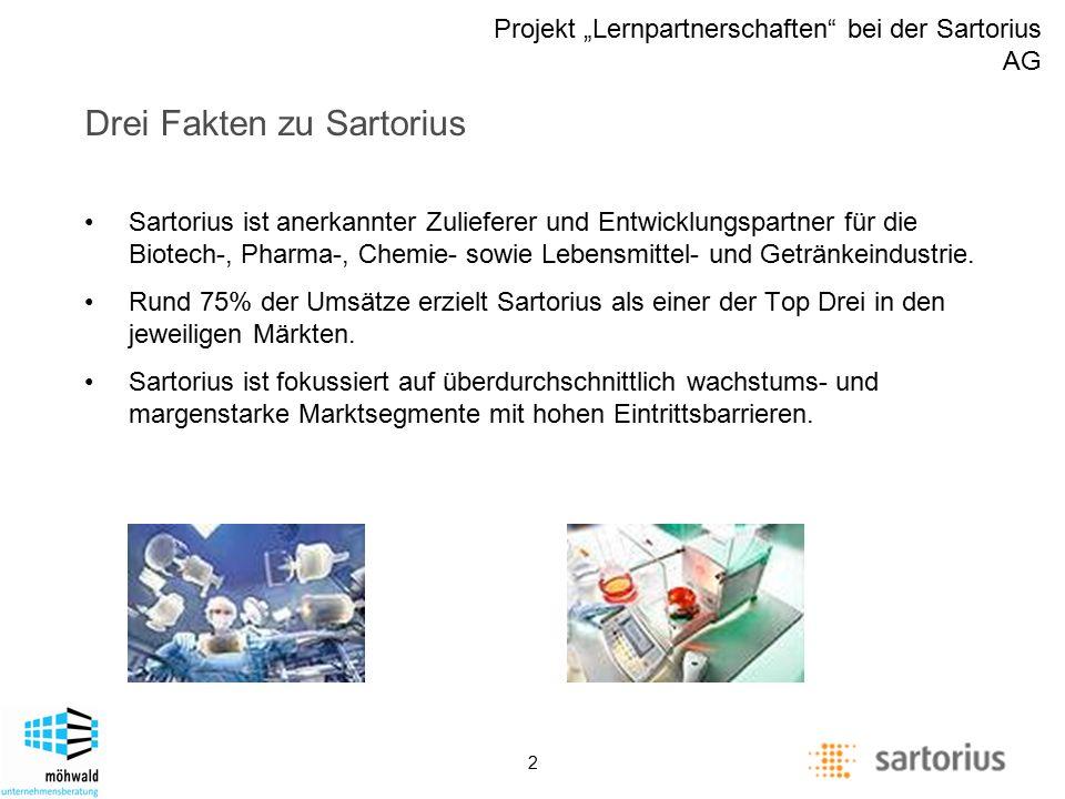 """Description of management positions Projekt """"Lernpartnerschaften bei der Sartorius AG 2 Drei Fakten zu Sartorius Sartorius ist anerkannter Zulieferer und Entwicklungspartner für die Biotech-, Pharma-, Chemie- sowie Lebensmittel- und Getränkeindustrie."""
