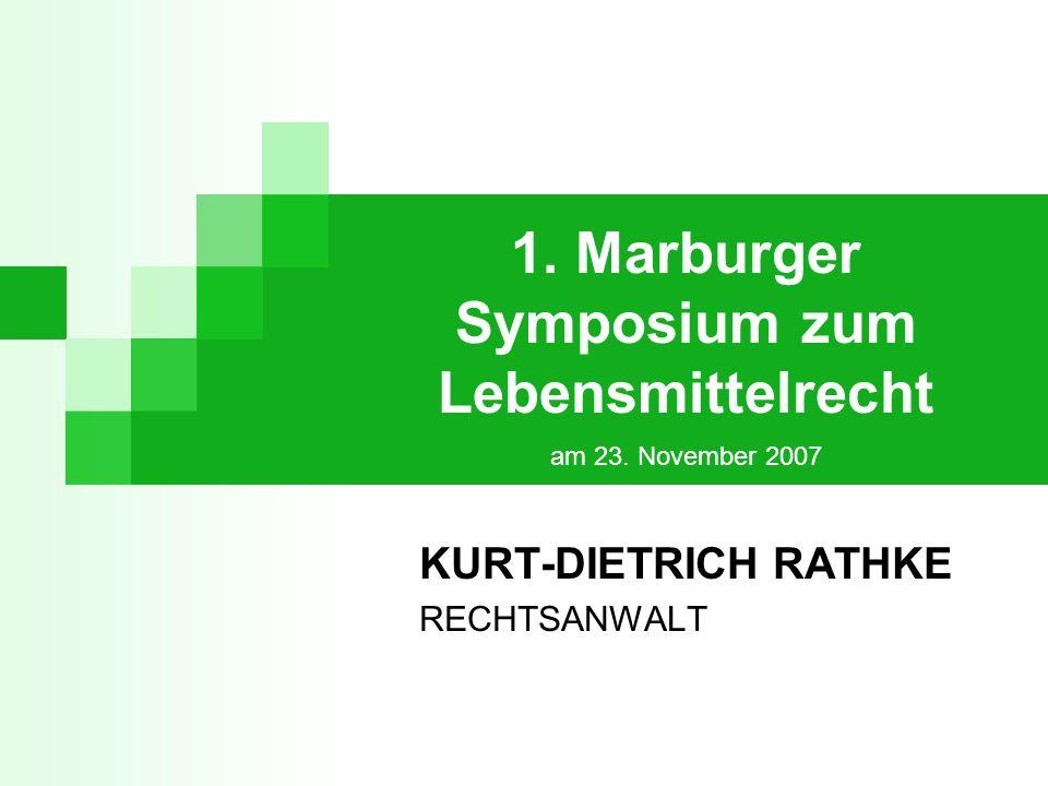 1.Marburger 1. Marburger Symposium zum Lebensmittelrecht Marburg, den 23.11.2007 12 Art.
