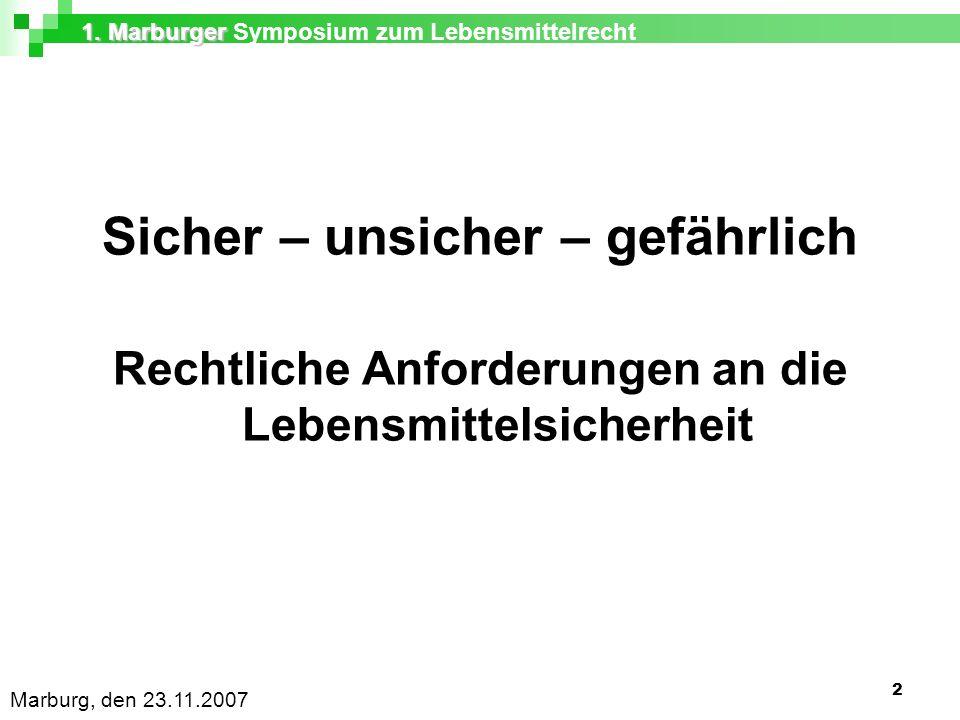 1.Marburger 1. Marburger Symposium zum Lebensmittelrecht Marburg, den 23.11.2007 13 Art.
