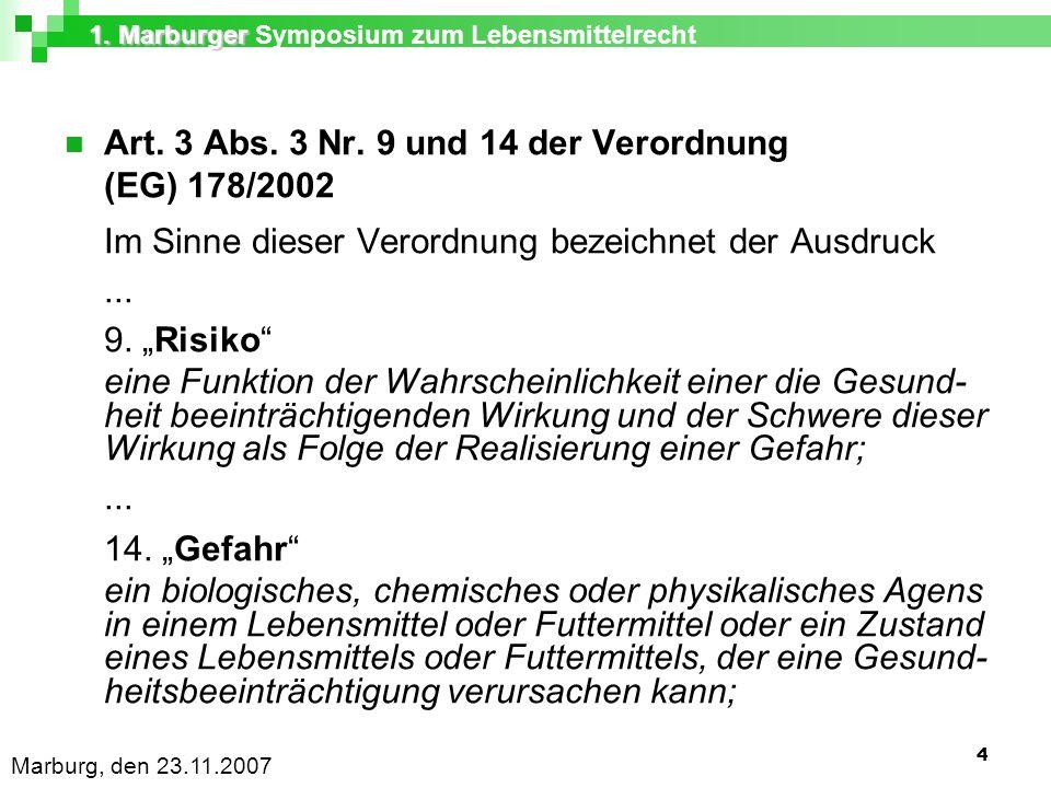 1. Marburger 1. Marburger Symposium zum Lebensmittelrecht Marburg, den 23.11.2007 4 Art.