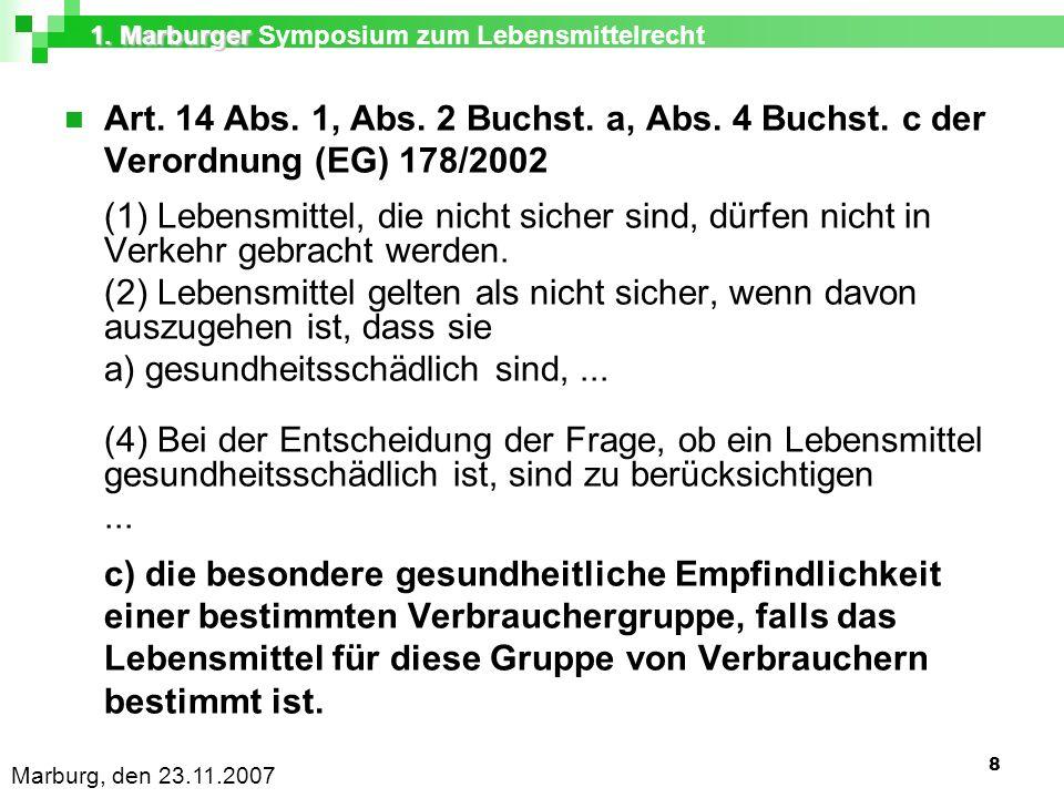 1. Marburger 1. Marburger Symposium zum Lebensmittelrecht Marburg, den 23.11.2007 8 Art.