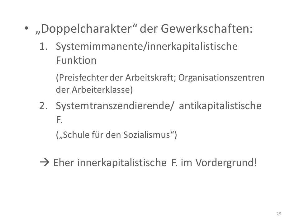 """""""Doppelcharakter der Gewerkschaften: 1.Systemimmanente/innerkapitalistische Funktion (Preisfechter der Arbeitskraft; Organisationszentren der Arbeiterklasse) 2.Systemtranszendierende/ antikapitalistische F."""