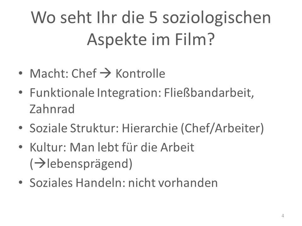 Wo seht Ihr die 5 soziologischen Aspekte im Film.