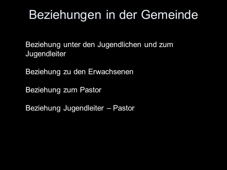 Beziehungen in der Gemeinde Beziehung unter den Jugendlichen und zum Jugendleiter Beziehung zu den Erwachsenen Beziehung zum Pastor Beziehung Jugendleiter – Pastor