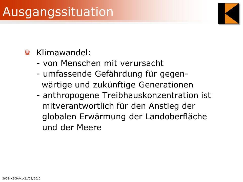 3609-KBG-A-1-21/09/2010 Ausgangssituation Klimawandel: - von Menschen mit verursacht - umfassende Gefährdung für gegen- wärtige und zukünftige Generationen - anthropogene Treibhauskonzentration ist mitverantwortlich für den Anstieg der globalen Erwärmung der Landoberfläche und der Meere