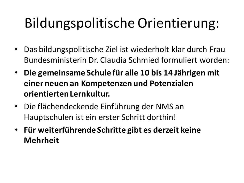 Bildungspolitische Orientierung: Das bildungspolitische Ziel ist wiederholt klar durch Frau Bundesministerin Dr.