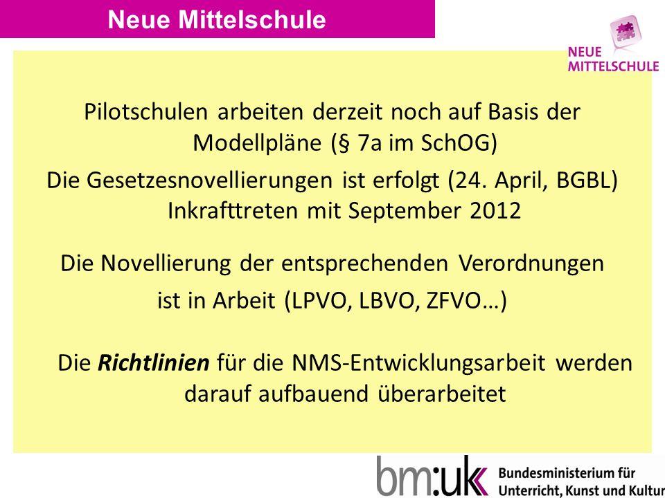 Neue Mittelschule Pilotschulen arbeiten derzeit noch auf Basis der Modellpläne (§ 7a im SchOG) Die Gesetzesnovellierungen ist erfolgt (24.