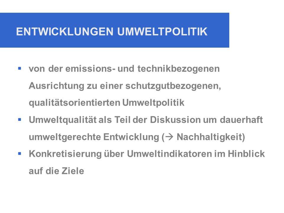 ENTWICKLUNGEN UMWELTPOLITIK  von der emissions- und technikbezogenen Ausrichtung zu einer schutzgutbezogenen, qualitätsorientierten Umweltpolitik  Umweltqualität als Teil der Diskussion um dauerhaft umweltgerechte Entwicklung (  Nachhaltigkeit)  Konkretisierung über Umweltindikatoren im Hinblick auf die Ziele