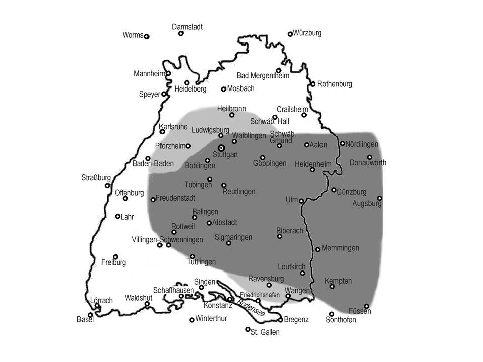 hochdeutsch Eis, Zeit, Haus niederalemannisch Iis, Ziit, Huus schwäbisch Eis, Zeid, Háus Die Grenze zwischen Schwäbisch und Alemannisch