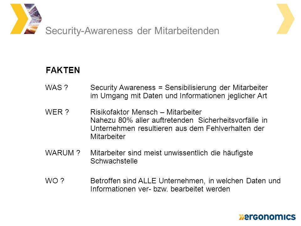 Security-Awareness der Mitarbeitenden WAS ?Security Awareness = Sensibilisierung der Mitarbeiter im Umgang mit Daten und Informationen jeglicher Art W