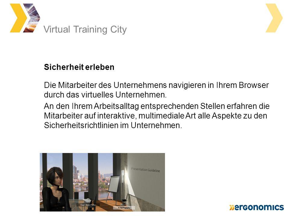 Die Mitarbeiter des Unternehmens navigieren in Ihrem Browser durch das virtuelles Unternehmen.