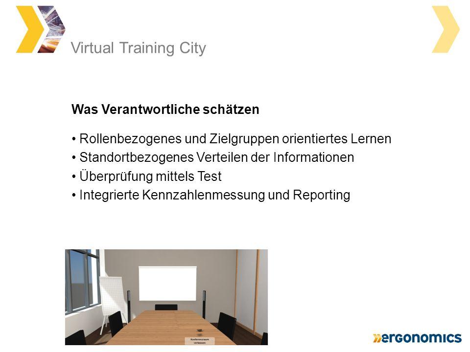 Virtual Training City Rollenbezogenes und Zielgruppen orientiertes Lernen Standortbezogenes Verteilen der Informationen Überprüfung mittels Test Integrierte Kennzahlenmessung und Reporting Was Verantwortliche schätzen