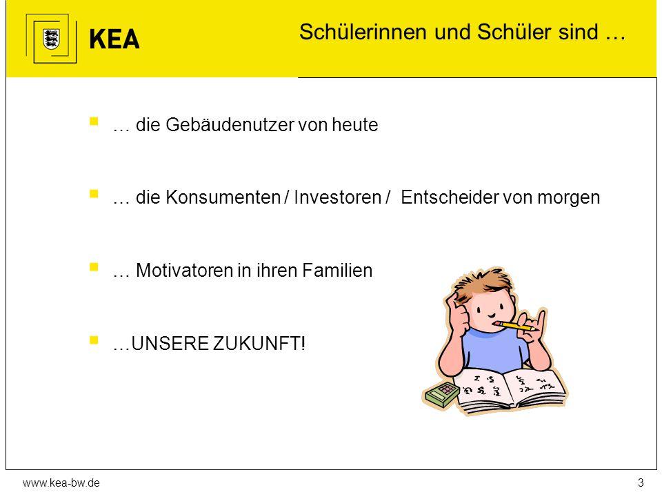 www.kea-bw.de Schülerinnen und Schüler sind …  … die Gebäudenutzer von heute  … die Konsumenten / Investoren / Entscheider von morgen  … Motivatoren in ihren Familien  …UNSERE ZUKUNFT.