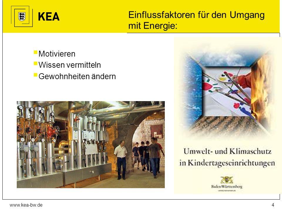 www.kea-bw.de Einflussfaktoren für den Umgang mit Energie:  Motivieren  Wissen vermitteln  Gewohnheiten ändern 4