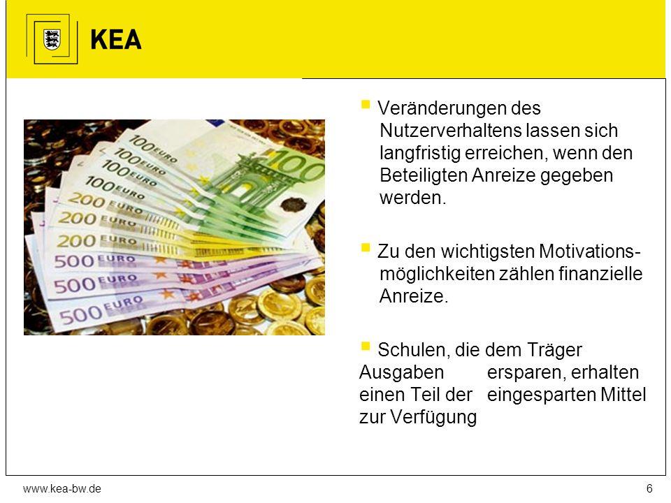 www.kea-bw.de  Veränderungen des Nutzerverhaltens lassen sich langfristig erreichen, wenn den Beteiligten Anreize gegeben werden.