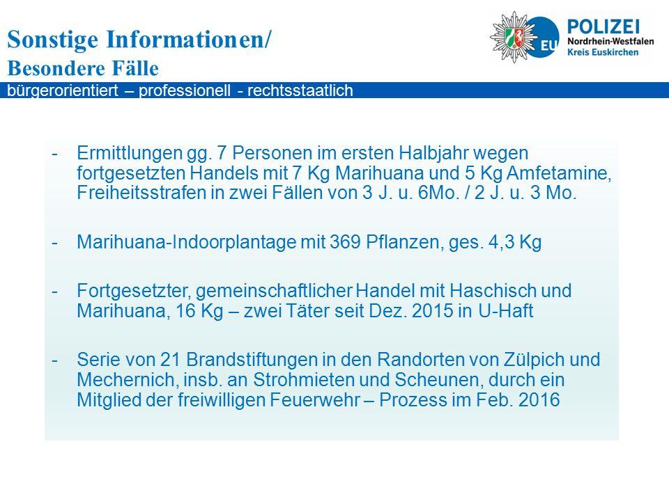 bürgerorientiert – professionell - rechtsstaatlich Sonstige Informationen/ Besondere Fälle -Ermittlungen gg.
