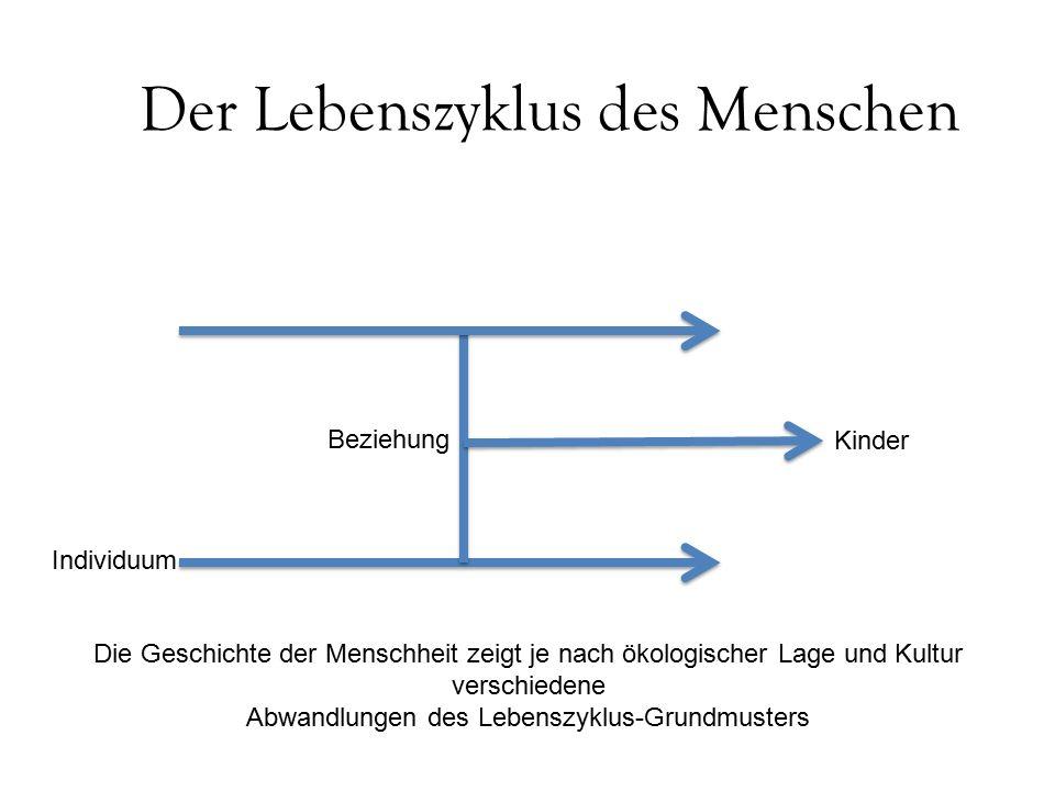 Der Lebenszyklus des Menschen Individuum Beziehung Kinder Die Geschichte der Menschheit zeigt je nach ökologischer Lage und Kultur verschiedene Abwandlungen des Lebenszyklus-Grundmusters