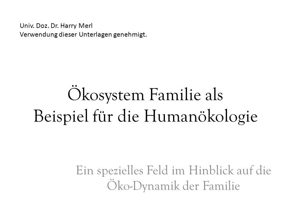 Ökosystem Familie als Beispiel für die Humanökologie Ein spezielles Feld im Hinblick auf die Öko-Dynamik der Familie Univ.