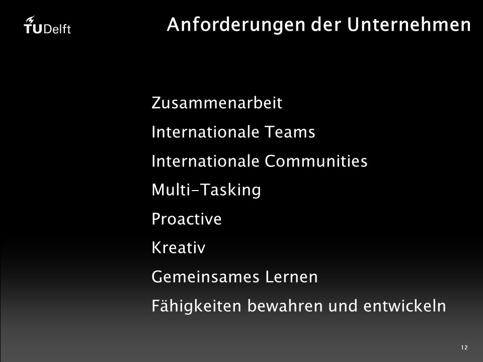 12 Zusammenarbeit Internationale Teams Internationale Communities Multi-Tasking Proactive Kreativ Gemeinsames Lernen Fähigkeiten bewahren und entwickeln Anforderungen der Unternehmen