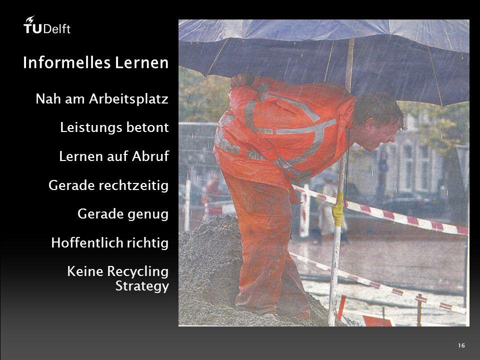 16 Informelles Lernen Nah am Arbeitsplatz Leistungs betont Lernen auf Abruf Gerade rechtzeitig Gerade genug Hoffentlich richtig Keine Recycling Strategy