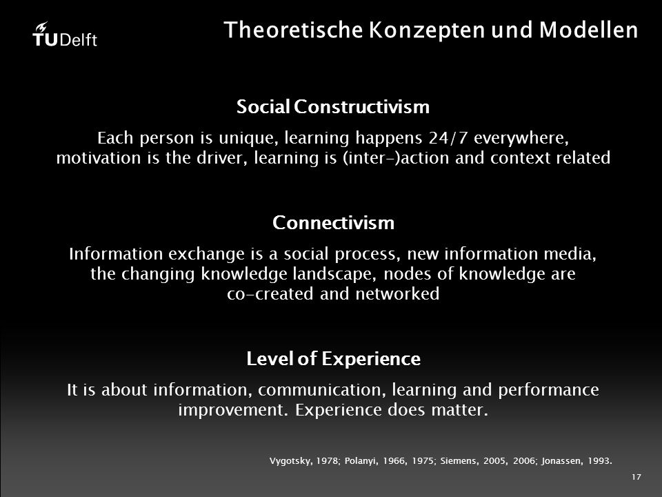 17 Theoretische Konzepten und Modellen Social Constructivism Each person is unique, learning happens 24/7 everywhere, motivation is the driver, learning is (inter-)action and context related Connectivism Information exchange is a social process, new information media, the changing knowledge landscape, nodes of knowledge are co-created and networked Level of Experience It is about information, communication, learning and performance improvement.