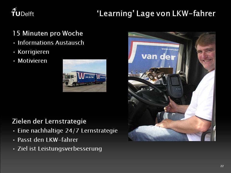22 'Learning' Lage von LKW-fahrer 15 Minuten pro Woche Informations Austausch Korrigieren Motivieren Zielen der Lernstrategie Eine nachhaltige 24/7 Lernstrategie Passt den LKW-fahrer Ziel ist Leistungsverbesserung