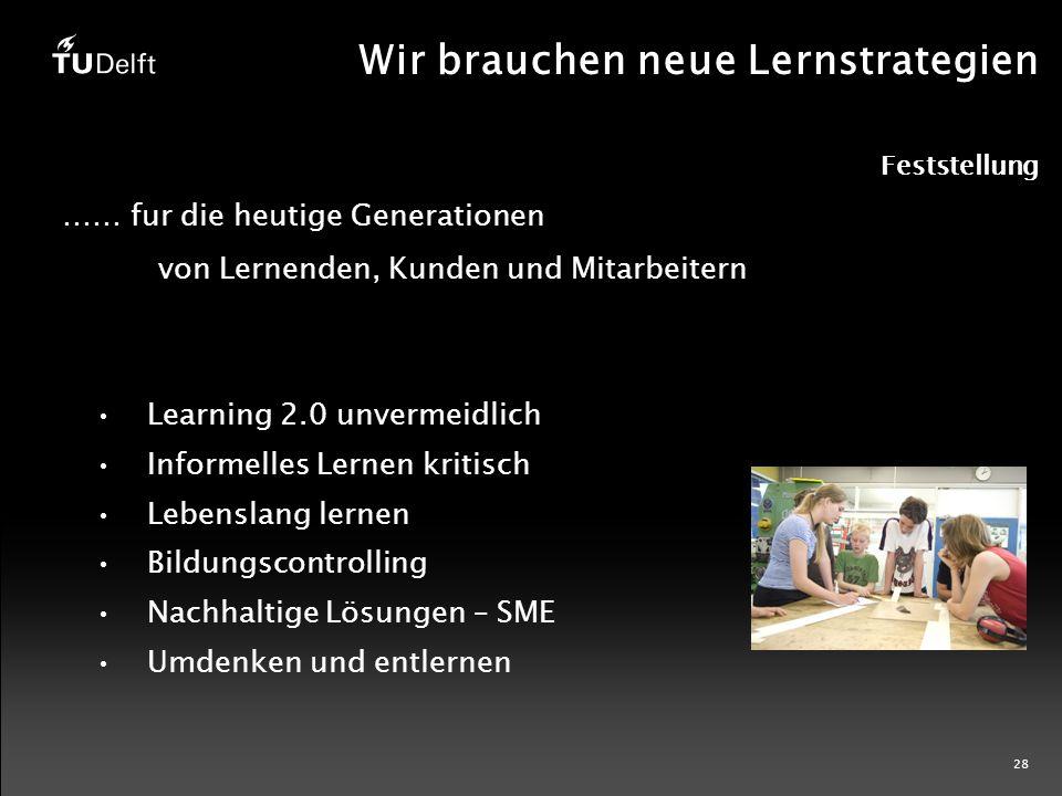 28 Wir brauchen neue Lernstrategien Feststellung Learning 2.0 unvermeidlich Informelles Lernen kritisch Lebenslang lernen Bildungscontrolling Nachhaltige Lösungen – SME Umdenken und entlernen …… fur die heutige Generationen von Lernenden, Kunden und Mitarbeitern