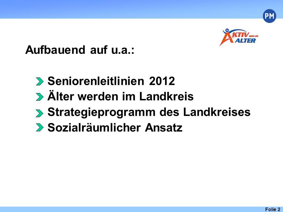 Folie 2 Aufbauend auf u.a.: Seniorenleitlinien 2012 Älter werden im Landkreis Strategieprogramm des Landkreises Sozialräumlicher Ansatz