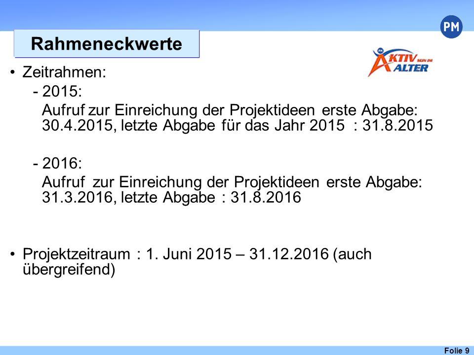 Rahmeneckwerte Zeitrahmen: - 2015: Aufruf zur Einreichung der Projektideen erste Abgabe: 30.4.2015, letzte Abgabe für das Jahr 2015 : 31.8.2015 - 2016