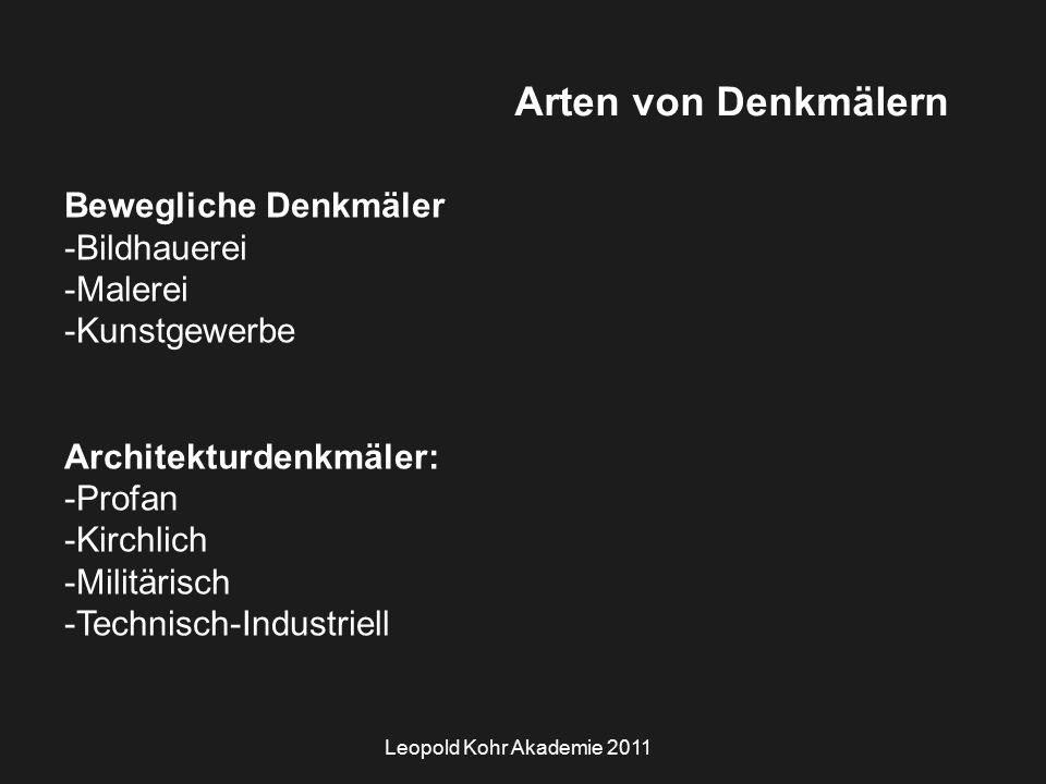 Leopold Kohr Akademie 2011 Arten von Denkmälern Bewegliche Denkmäler -Bildhauerei -Malerei -Kunstgewerbe Architekturdenkmäler: -Profan -Kirchlich -Militärisch -Technisch-Industriell