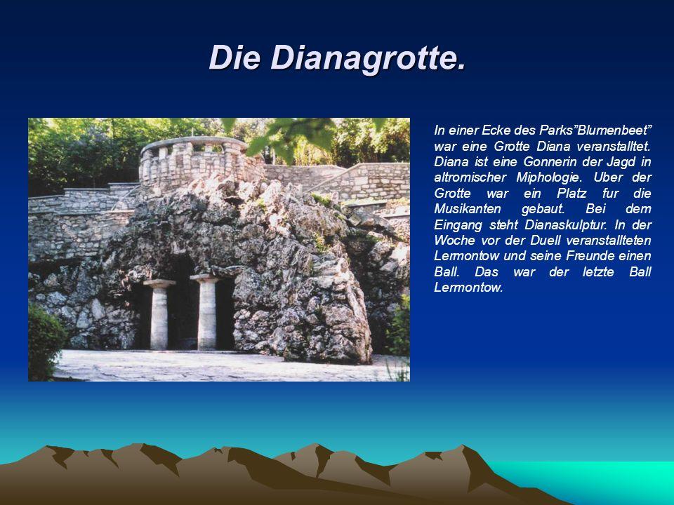 Die Dianagrotte. In einer Ecke des Parks Blumenbeet war eine Grotte Diana veranstalltet.