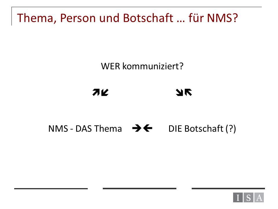 Thema, Person und Botschaft … für NMS? WER kommuniziert?   NMS - DAS Thema  DIE Botschaft (?)